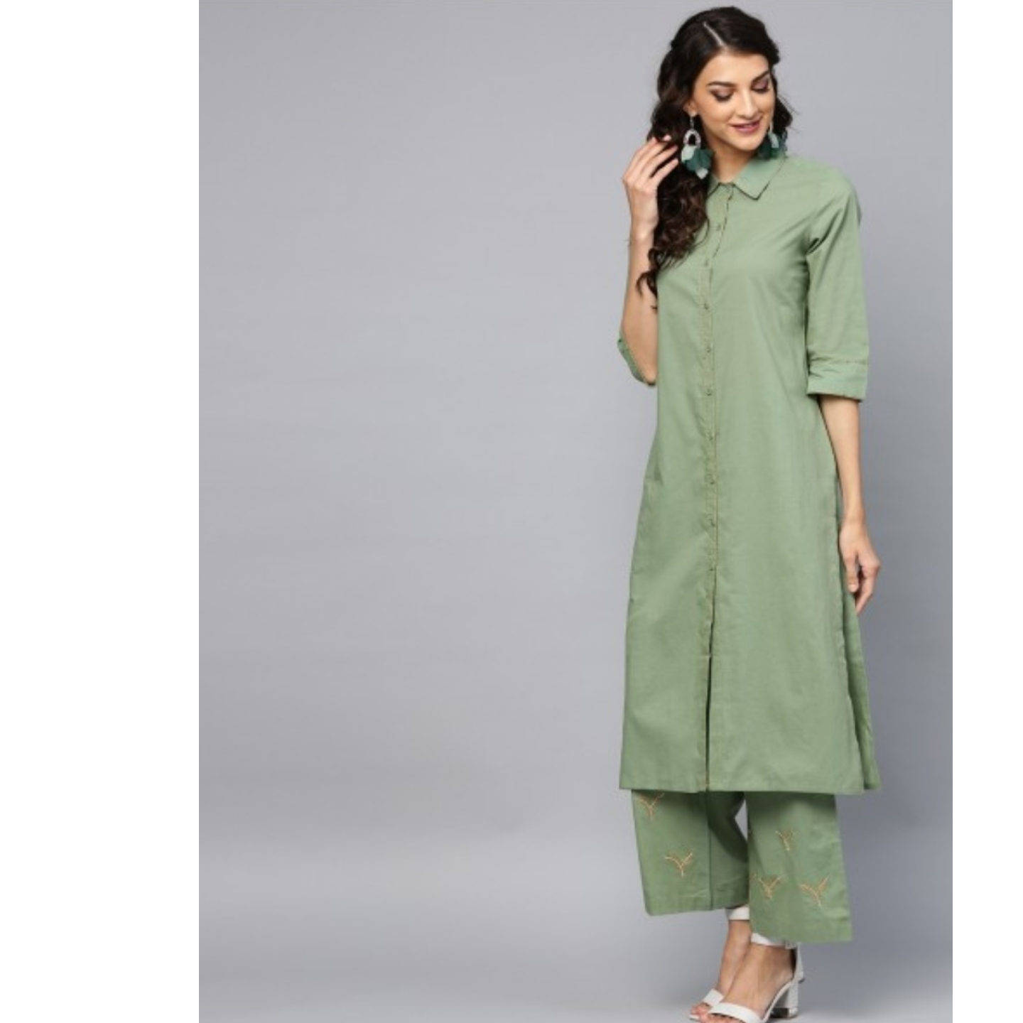 Green Embroidered Kurta & Palazzo With Tie & Dye Dupatta Set