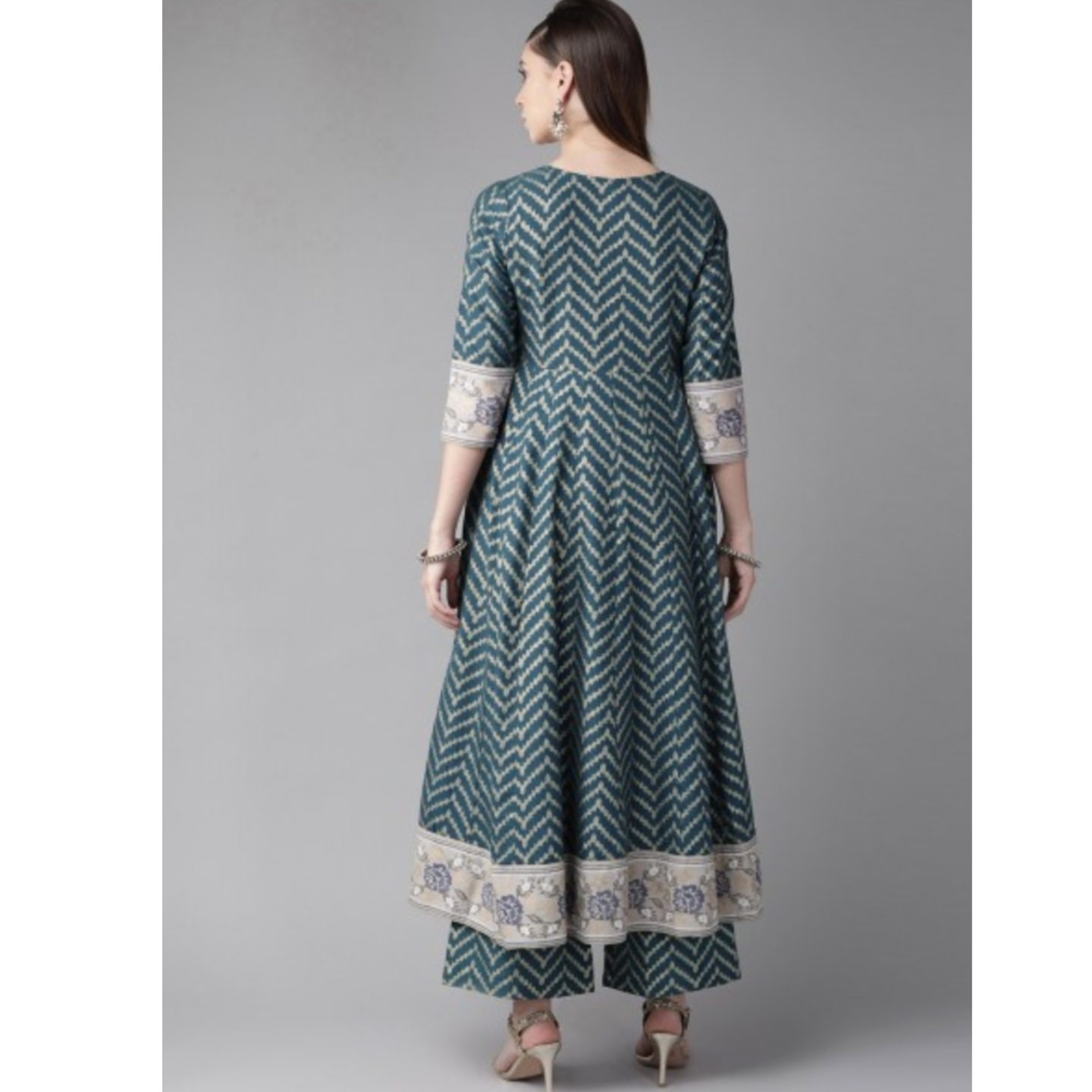 Teal Blue & Golden Chevron Print Anarkali Kurta