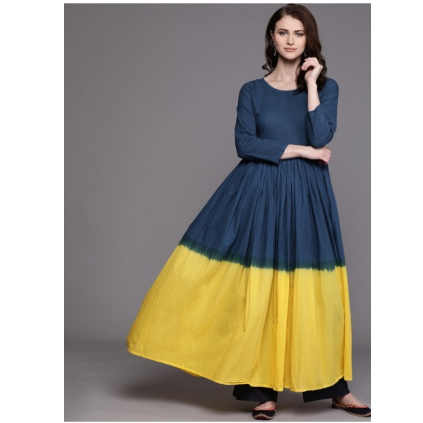 Navy Blue & Yellow Dyed Anarkali Kurta