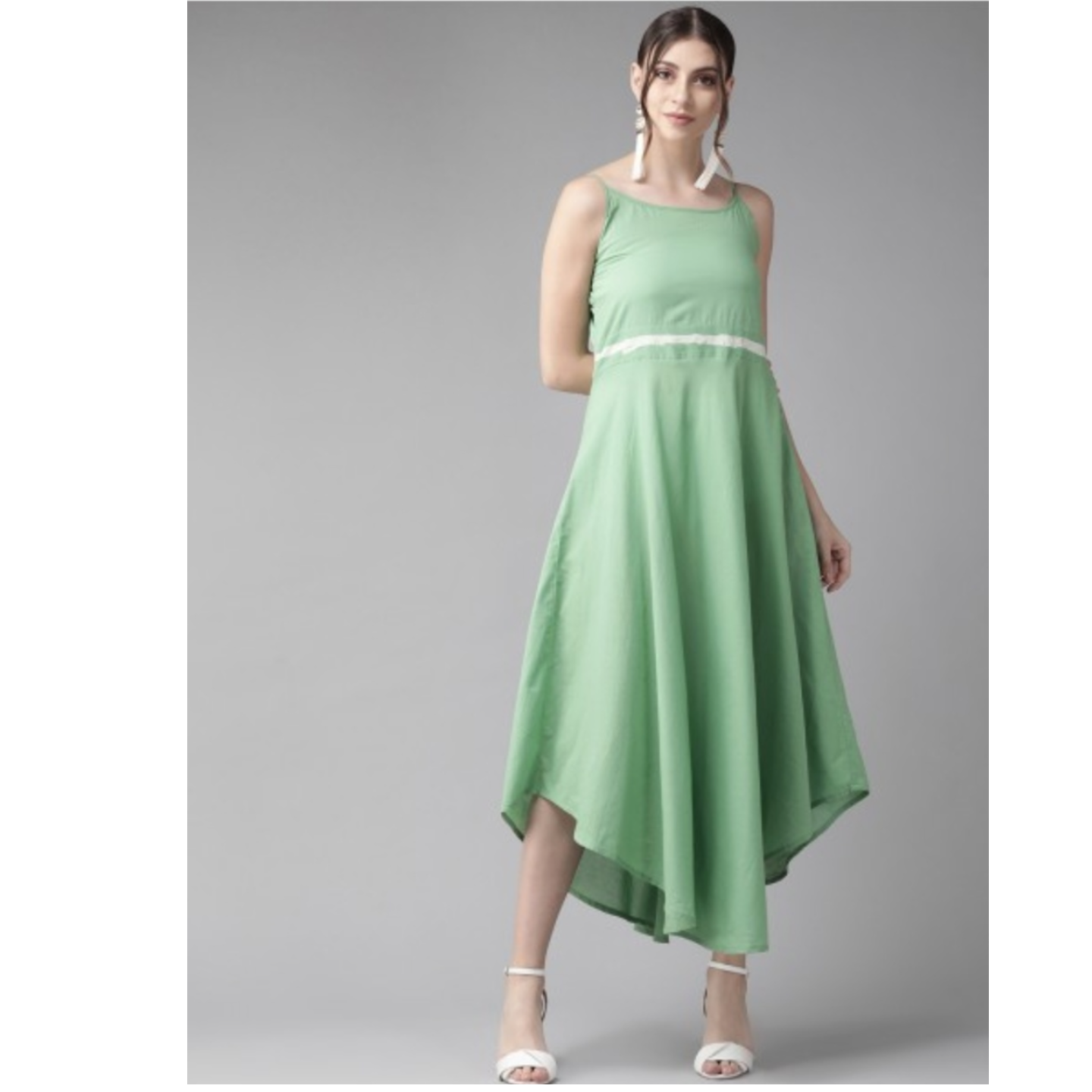 Green Solid A-Line Dress With Jacket