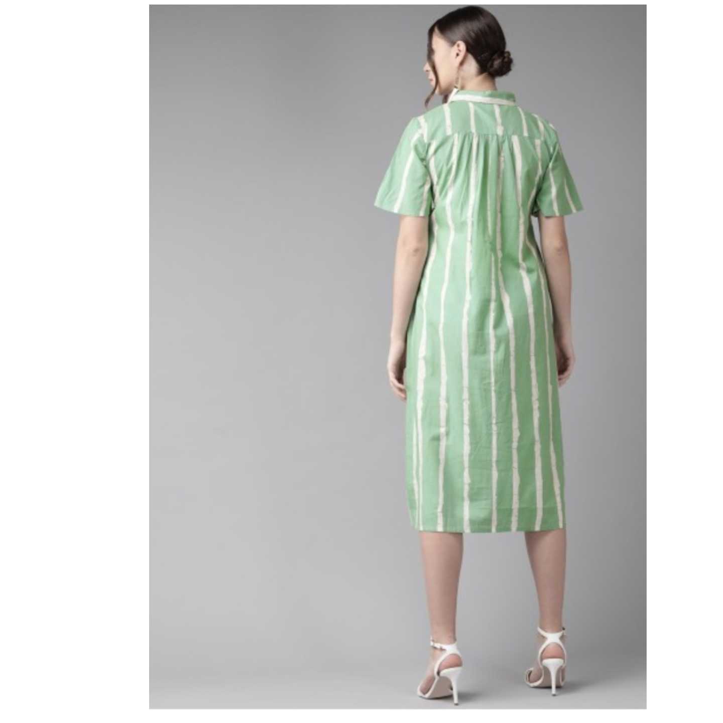 Green & White Striped Shirt Dress