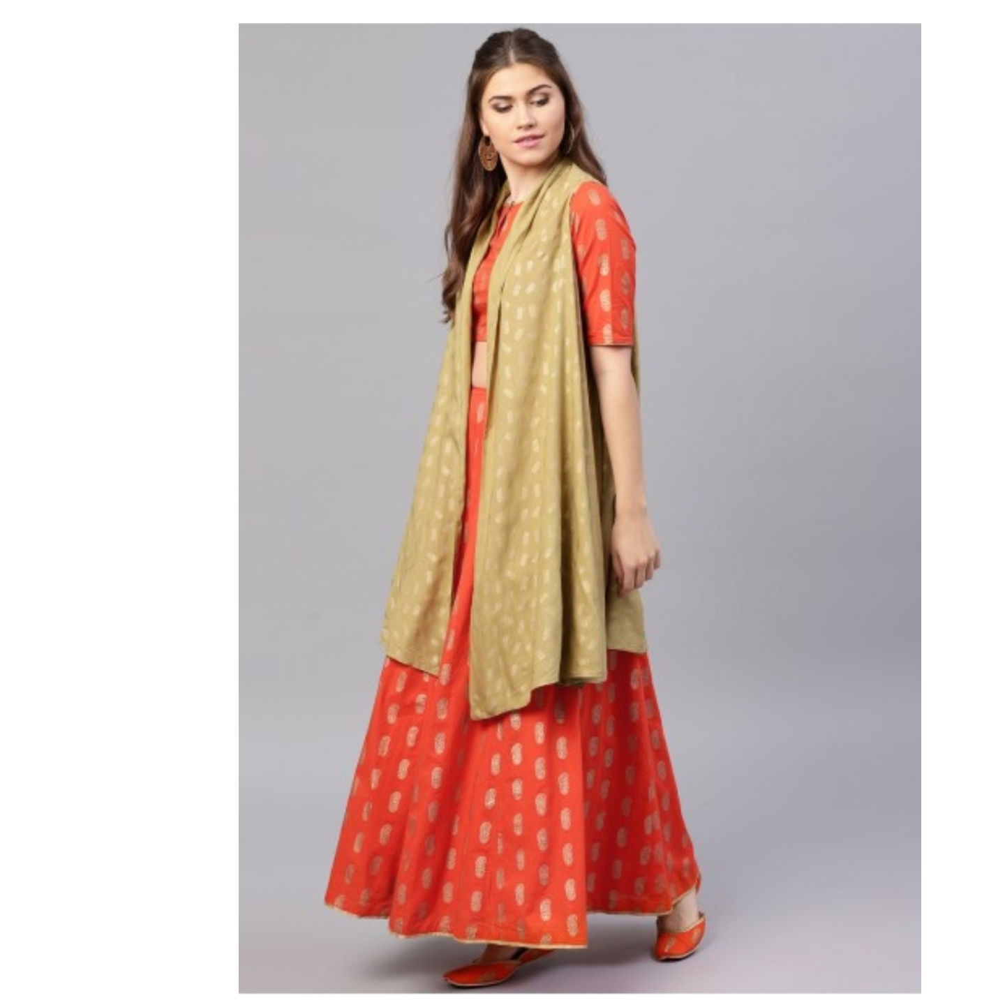 Orange Gold Printed Lehenga With Choli & Long Jacket Set