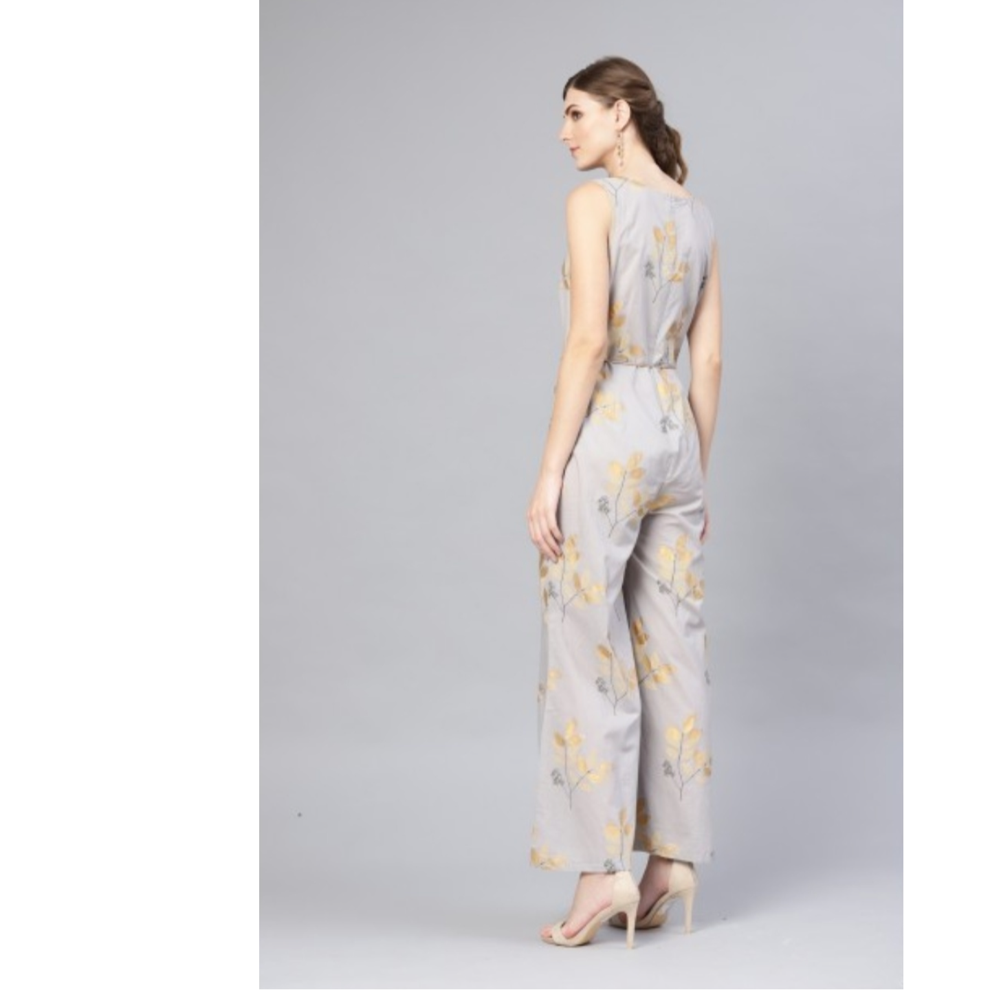 Grey Gold Printed Jumpsuit