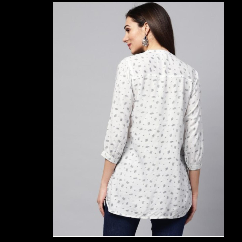 White Printed Tunic With Tucks