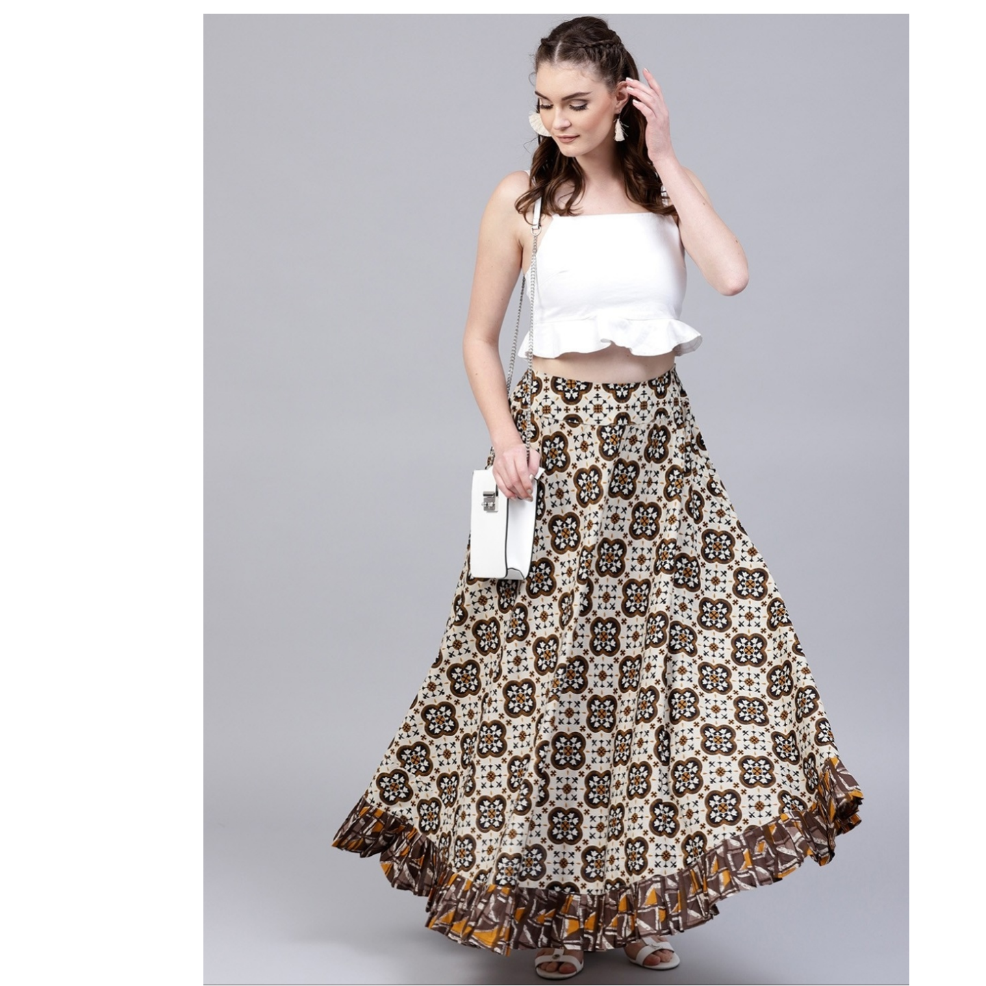 Brown & Beige Printed Skirt With Flared Hemline