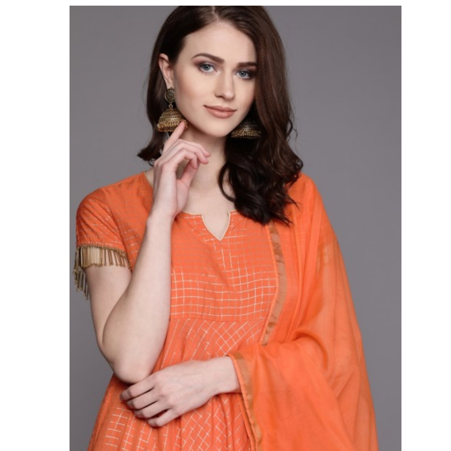 Orange & Golden Checked Kurta With Palazzos & Dupatta