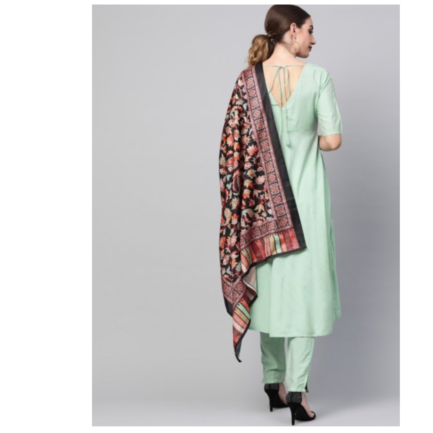 Mint Anarkali Kurta Set With Digital Printed Dupatta