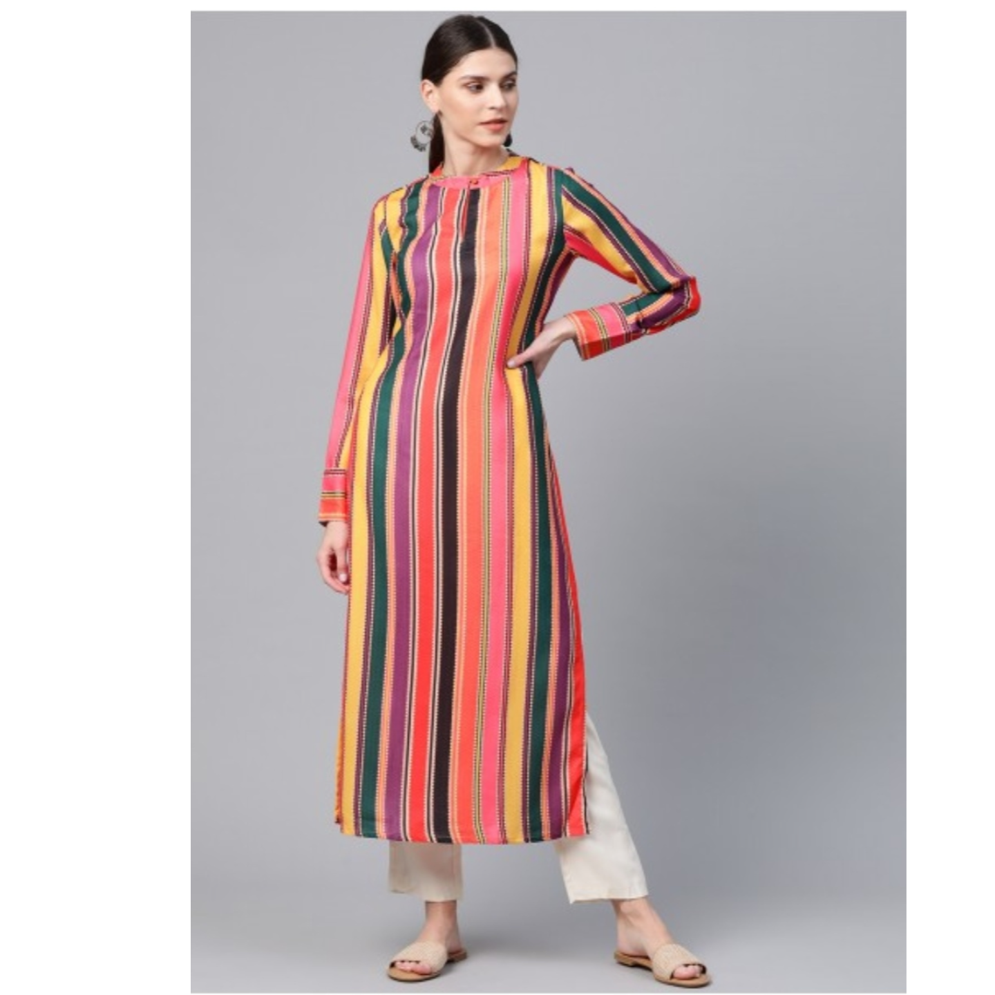 Multicoloured Striped Straight Kurta