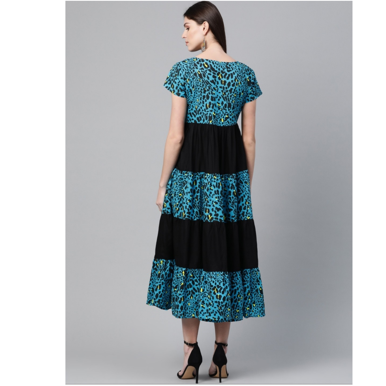 Blue & Black Animal Printed A-Line Tiered Dress