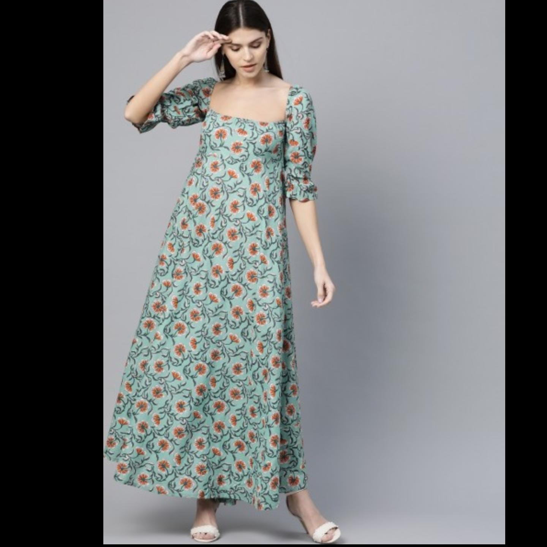 Green & Orange Printed Maxi Dress