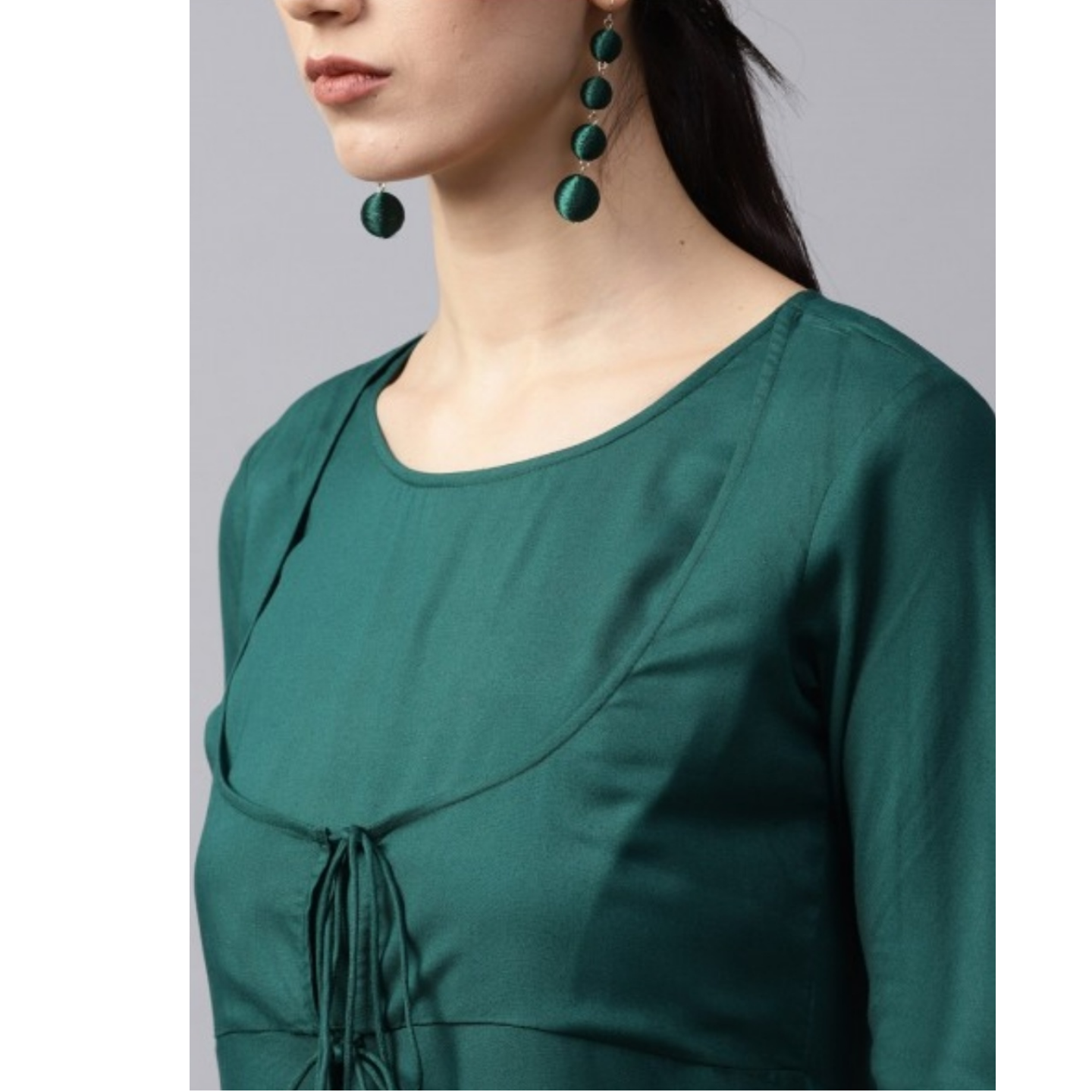 Green Solid Flared Anarkali With Churidar Sleeve