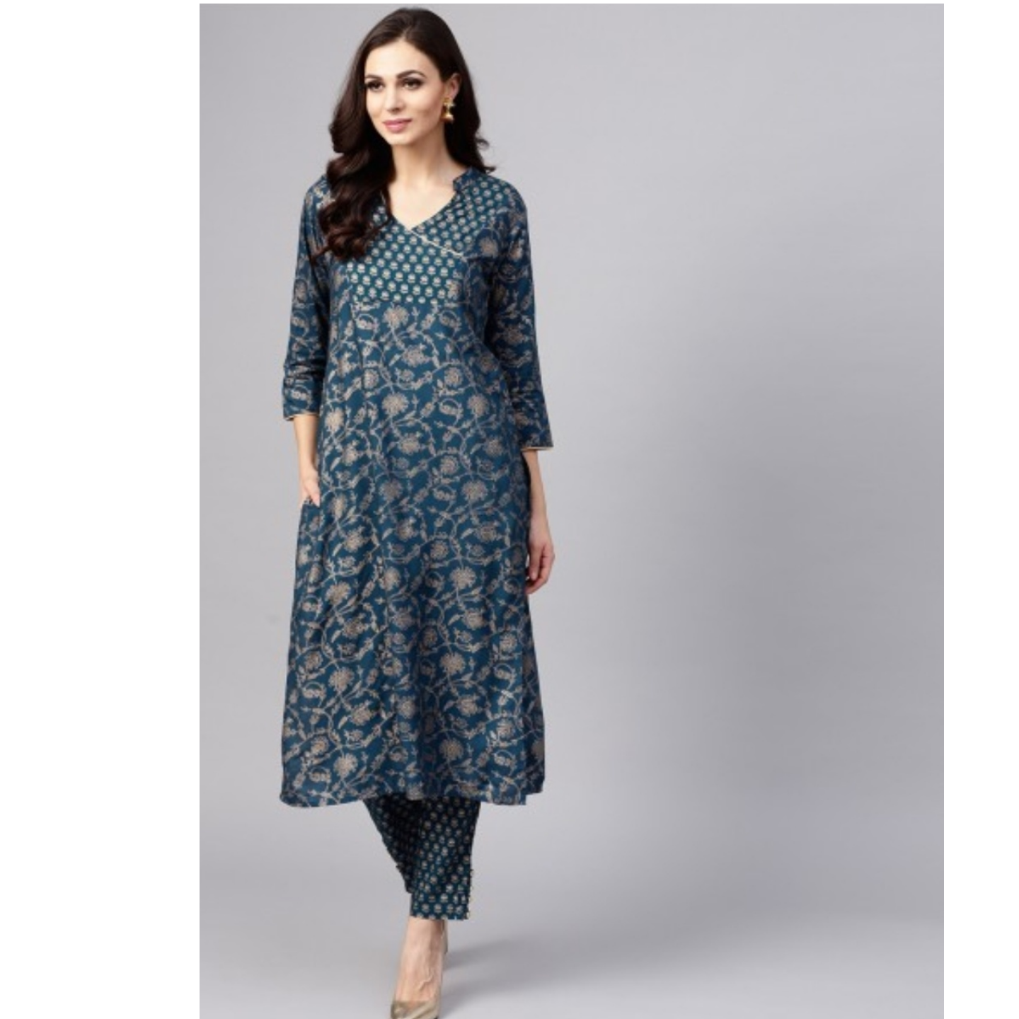 Blue Gold Printed Straight Kurta With Pant Set