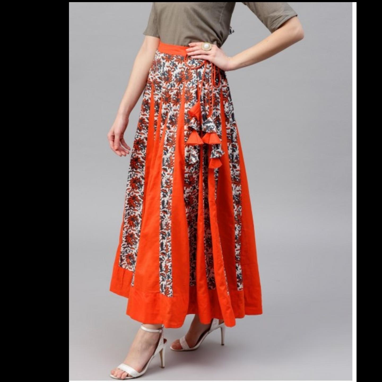 Orange & White Floral Printed Flared Skirt