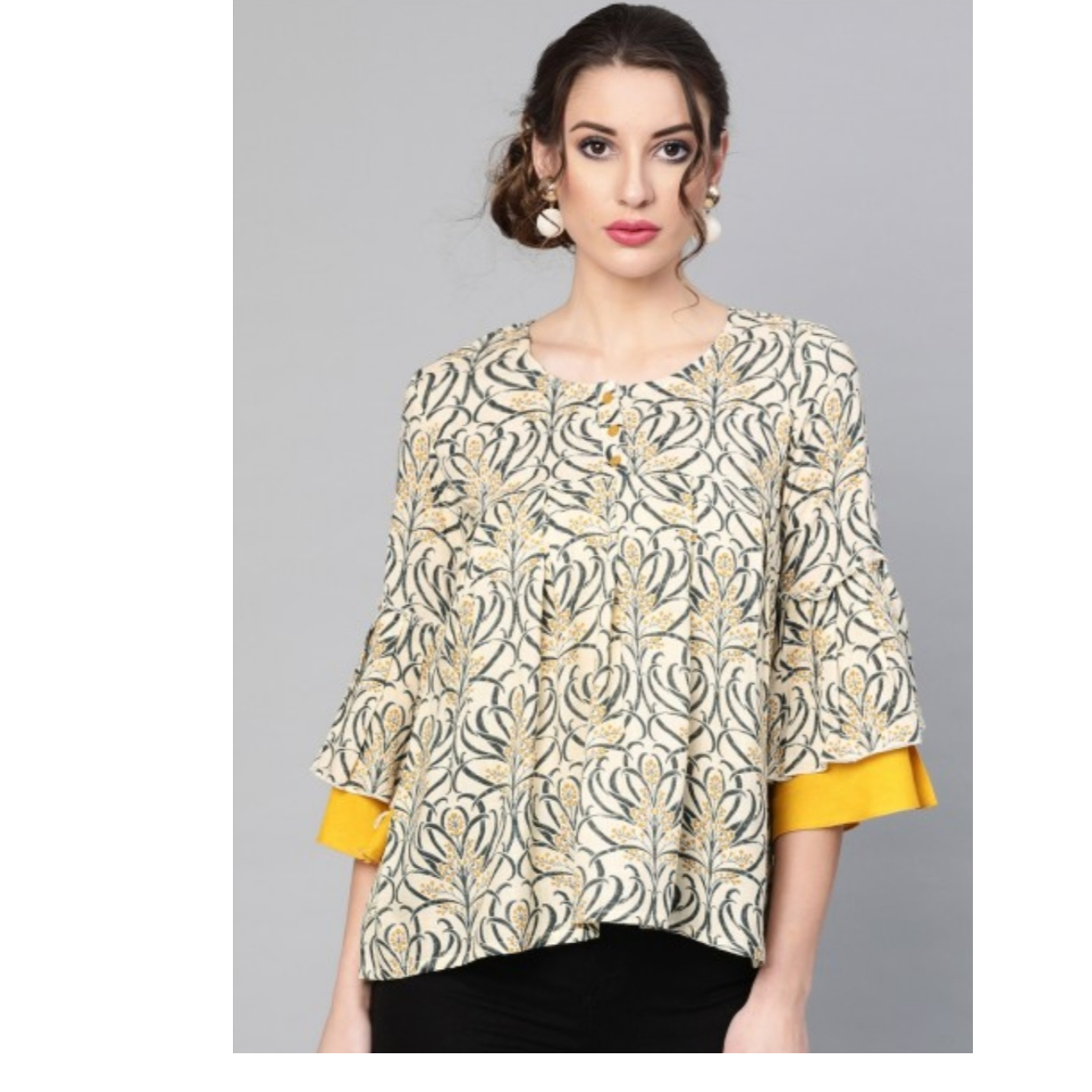 Cream And Mustard Printed Tunic