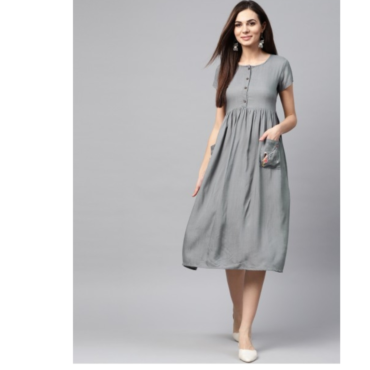 Grey Embroidery Detailed Dress