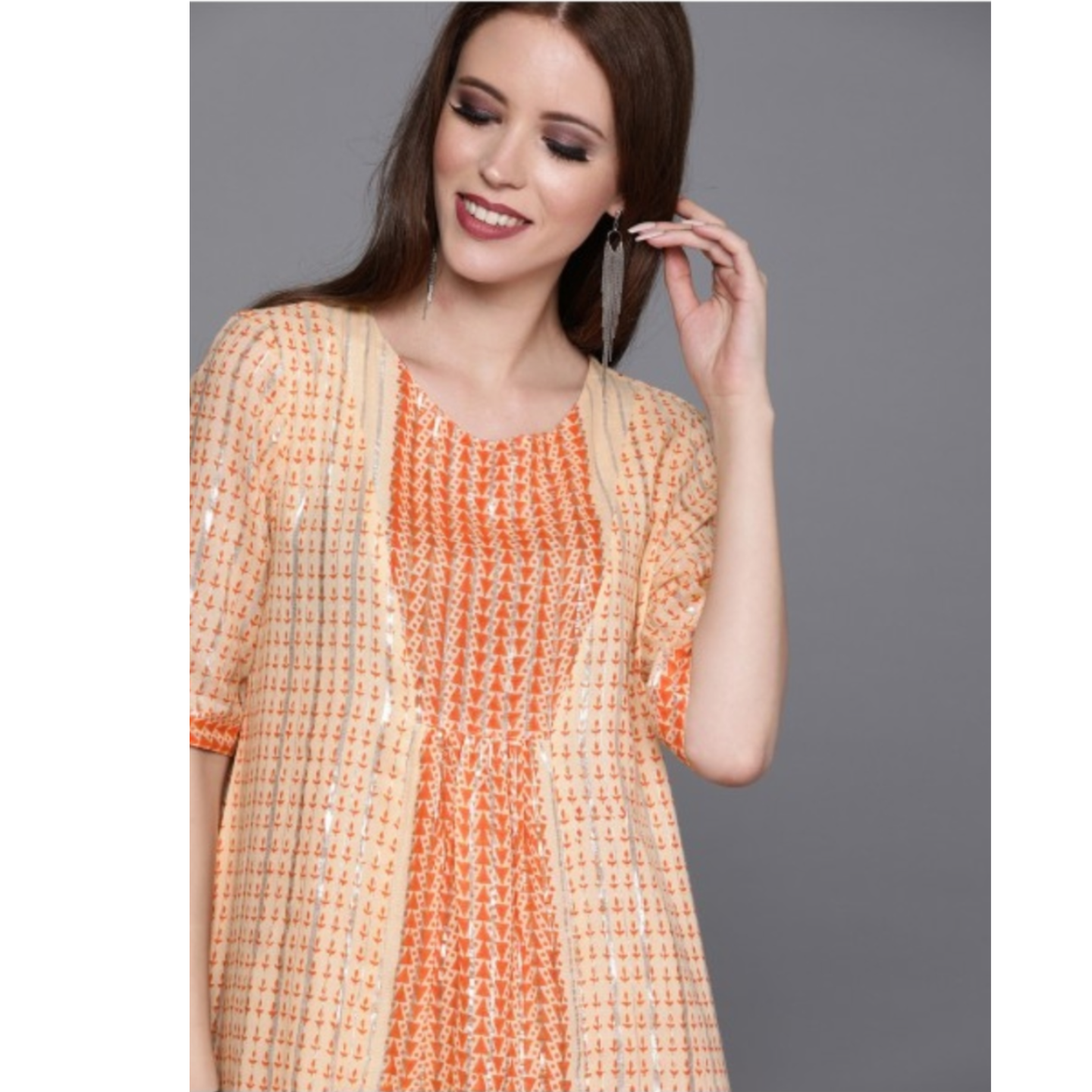 Peach-Coloured Printed A-Line Dress With Gathers