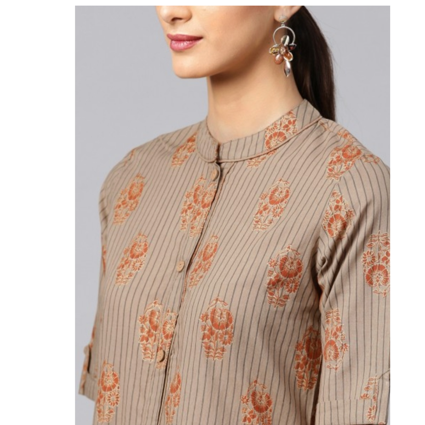 Brown Gold Printed Button Down Kurta With Palazzo Set