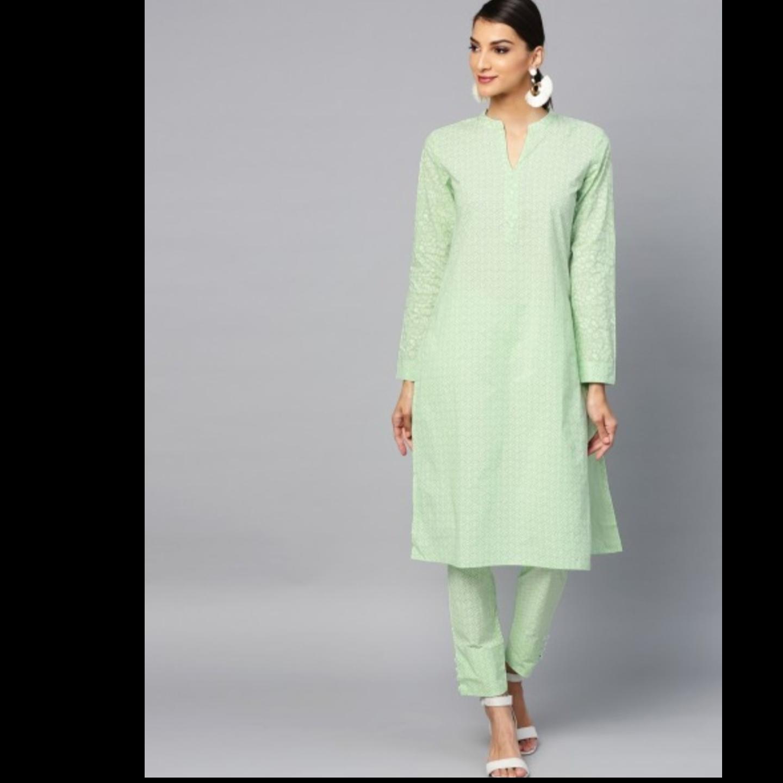 Sea Green Khari Printed Straight Kurta With Pant Set