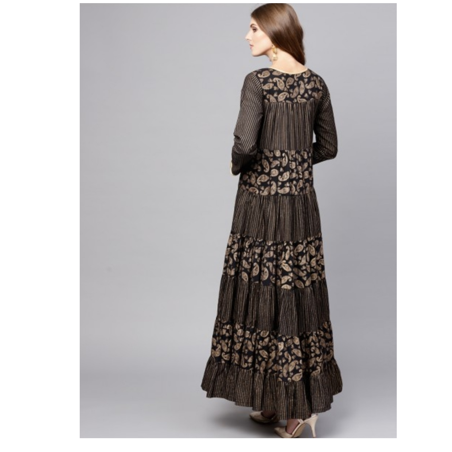Black Gold Printed Tiered Anarkali