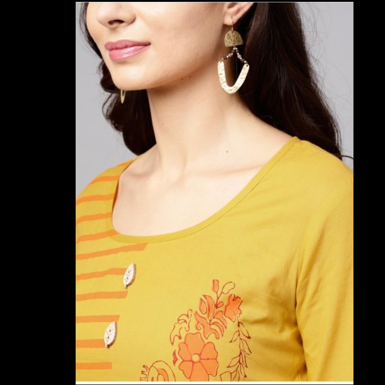 Yellow & Orange Block Printed Straight Kurta