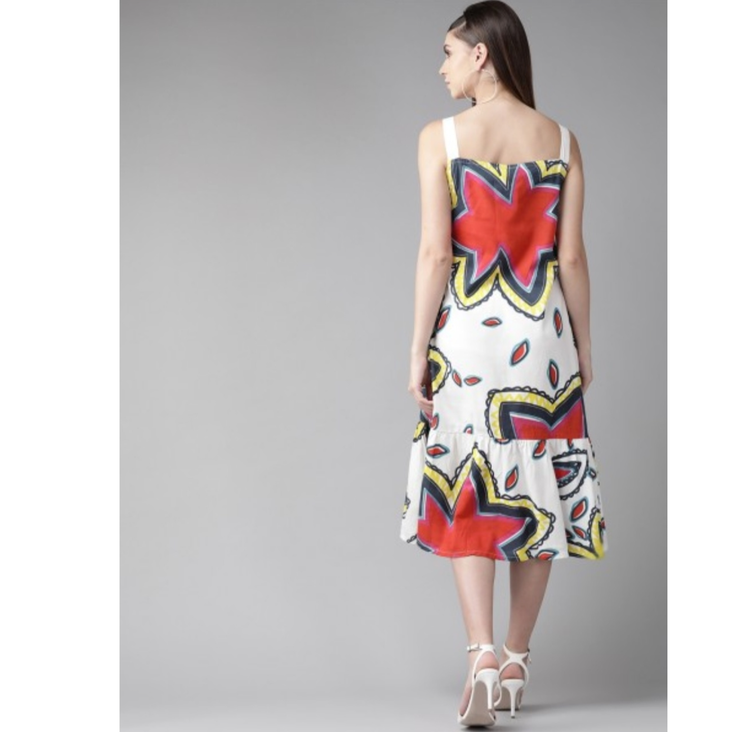 White & Red Printed A-Line Dress