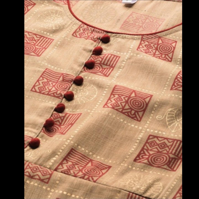 Red & Beige Layered Printed Maxi Dress