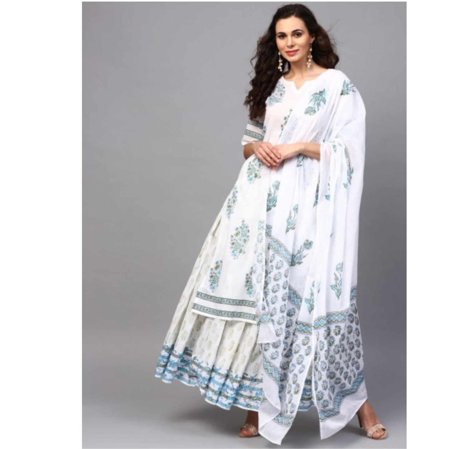 White & Blue Hand Block Printed Straight Kurta With Skirt & Dupatta Set