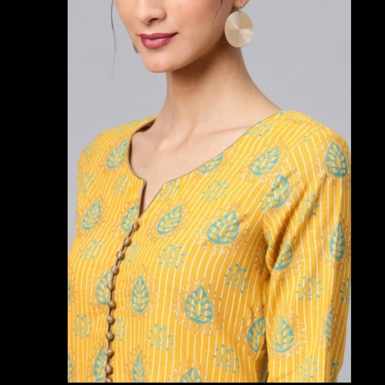 Yellow Gold Printed Straight Kurta