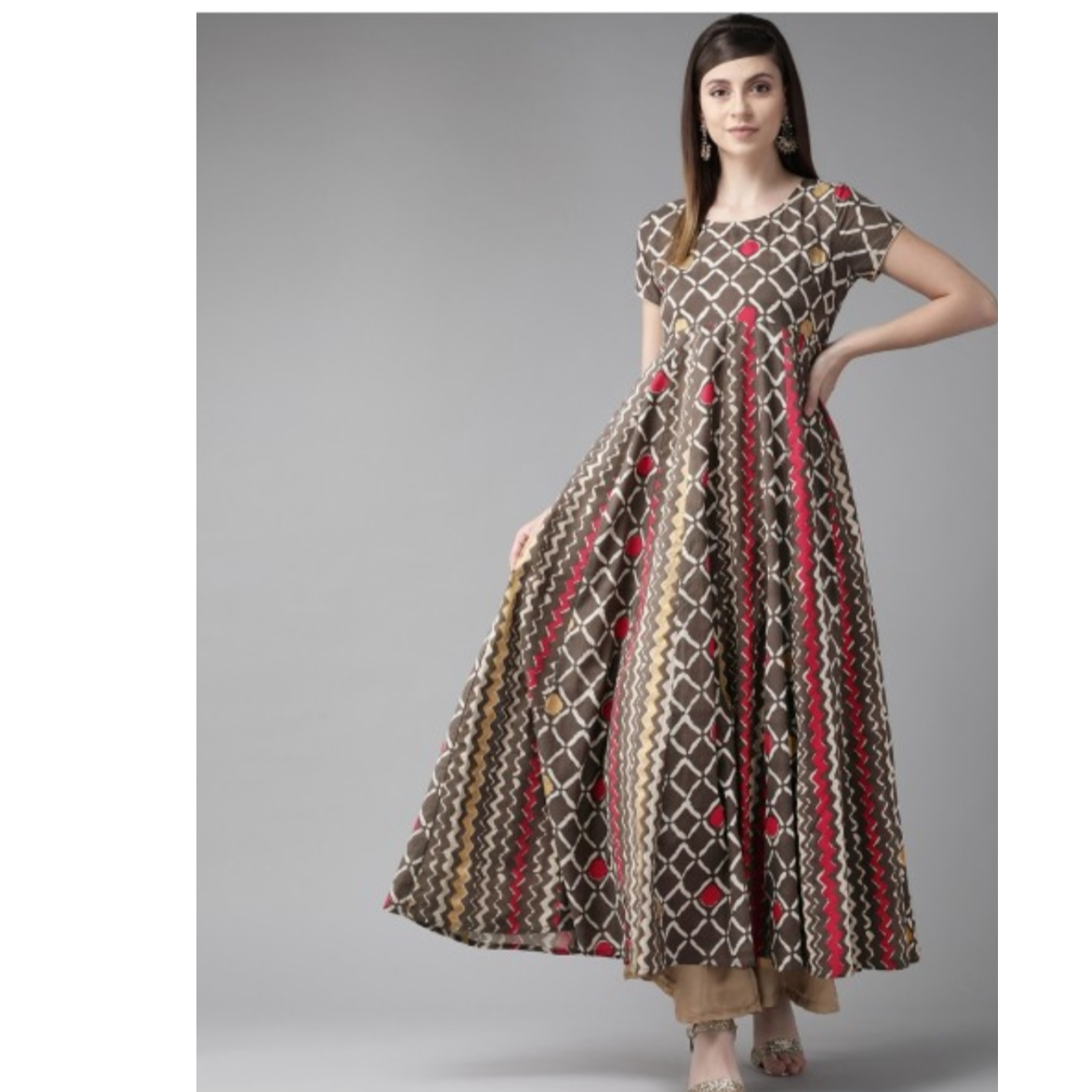 Coffee Brown & Red Printed Anarkali Kurta