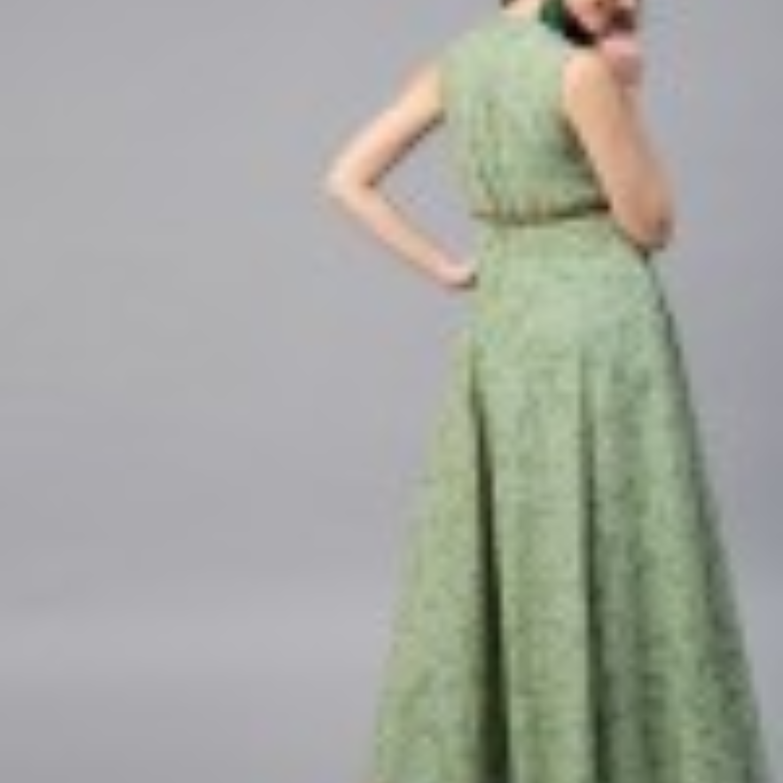 Green Bandhani Printed Sleeveless Flared Maxi With Brown Belt