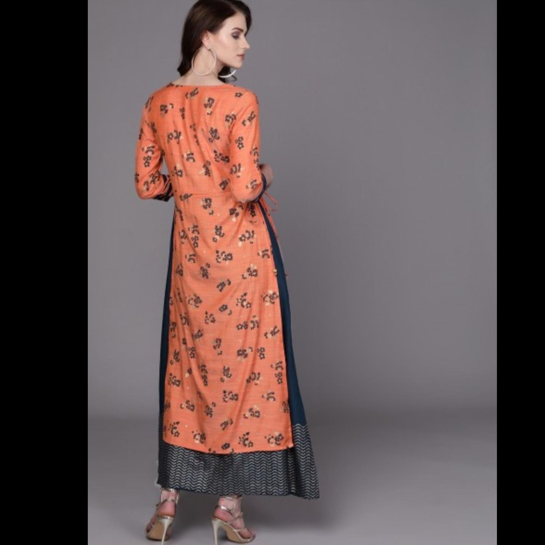 Orange & Teal Blue Floral Print Layered Maxi Dress