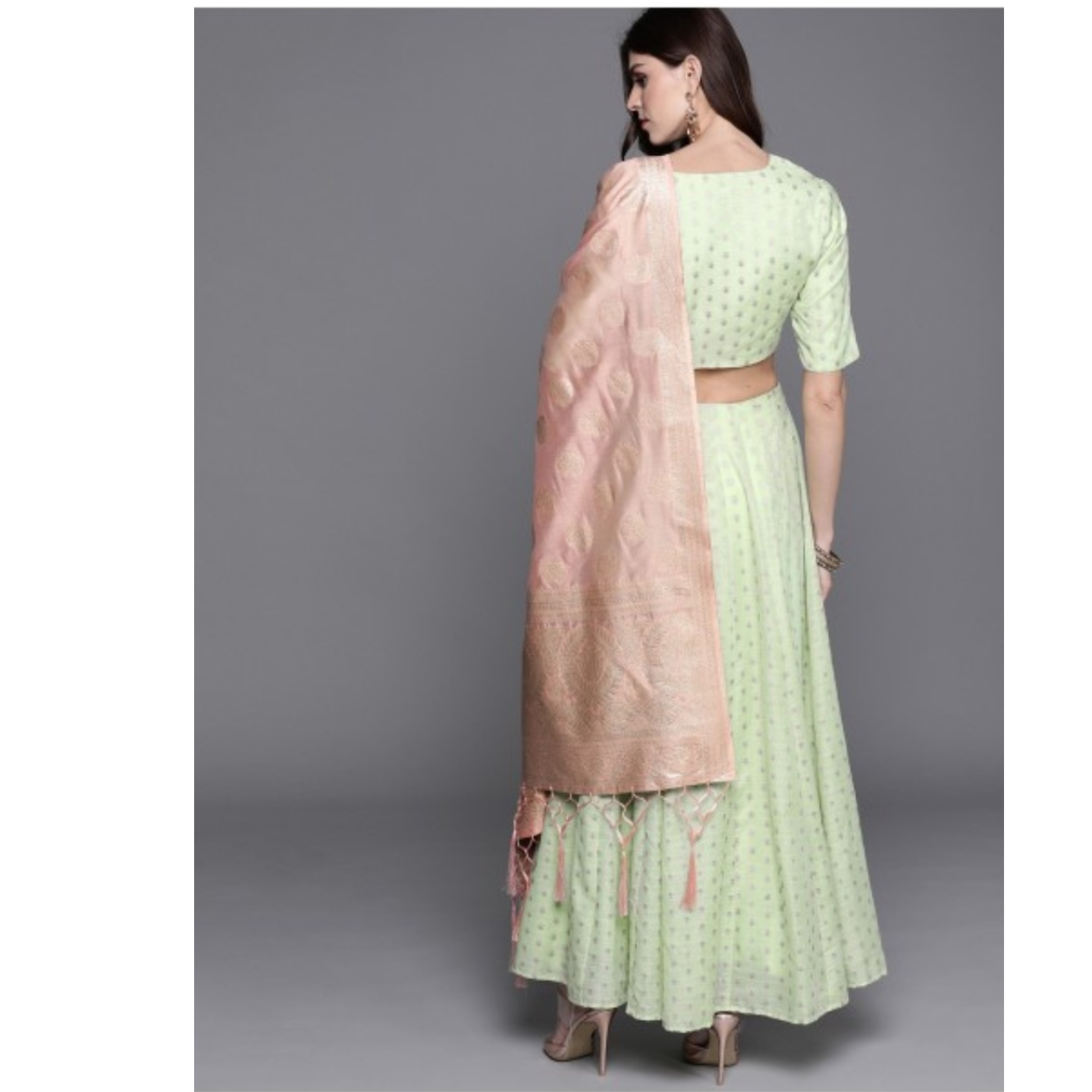 Green & Golden Woven Design Ready To Wear Lehenga & Blouse With Dupatta