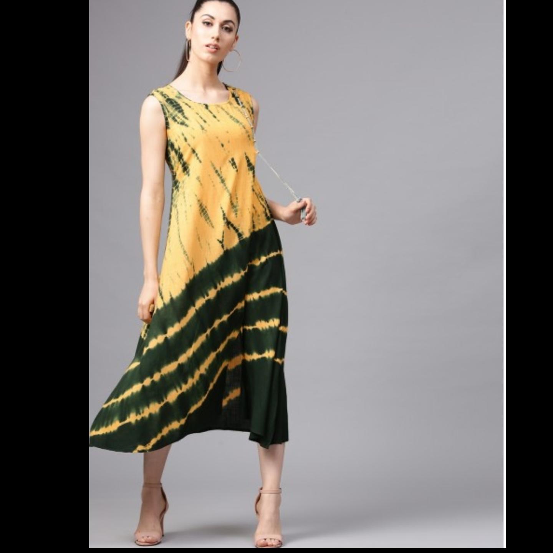 Yellow & Green Tie & Dye Sleeveless A-Line Dress