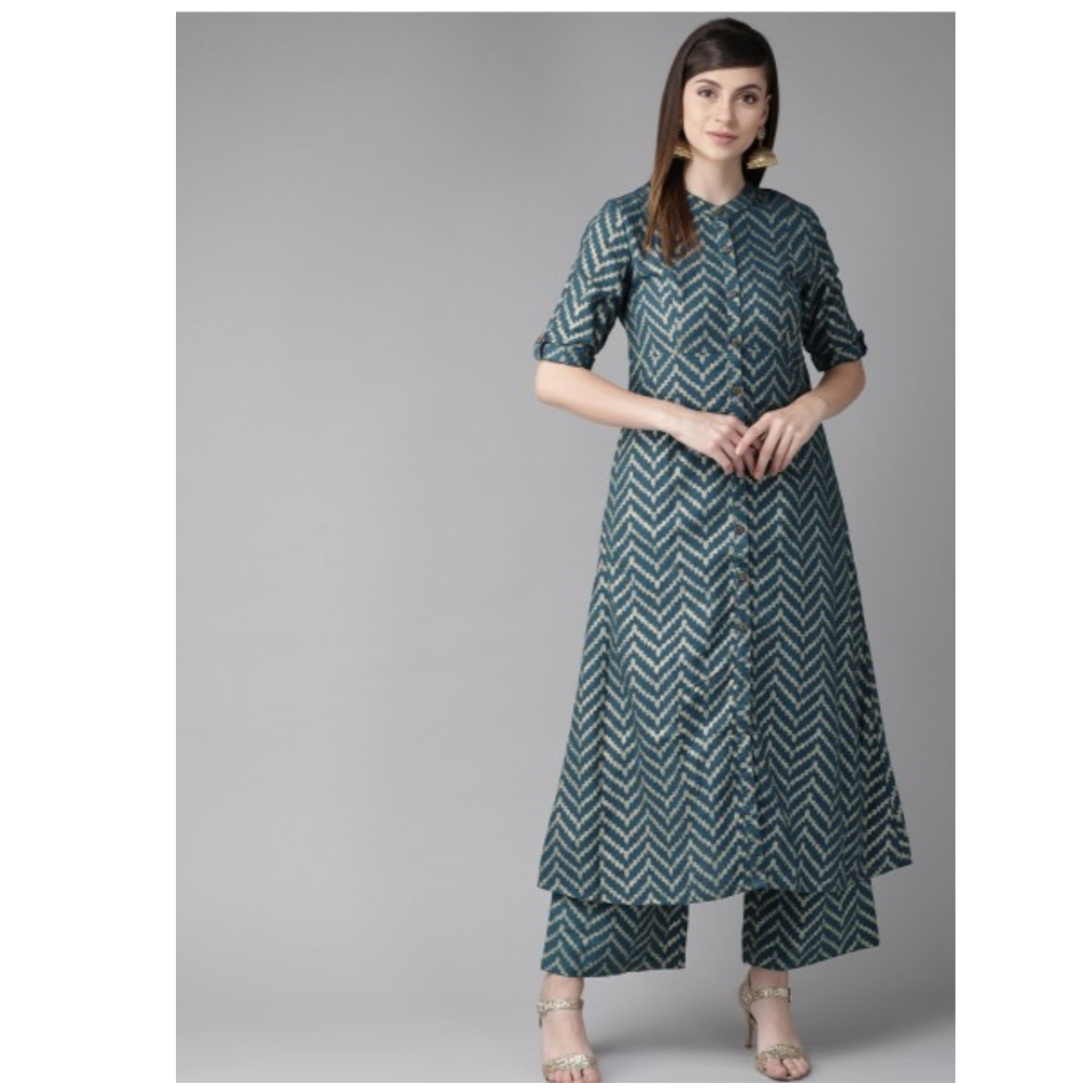 Teal Blue & Golden Chevron Print A-Line Kurta