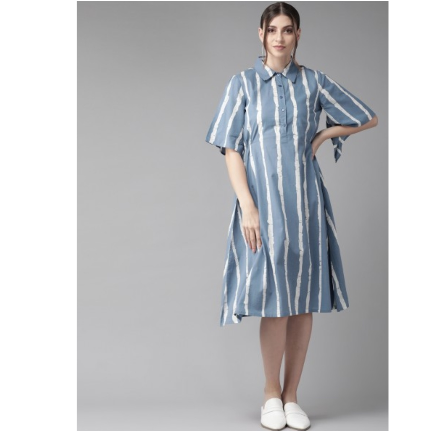 Blue & White Striped Shirt Dress