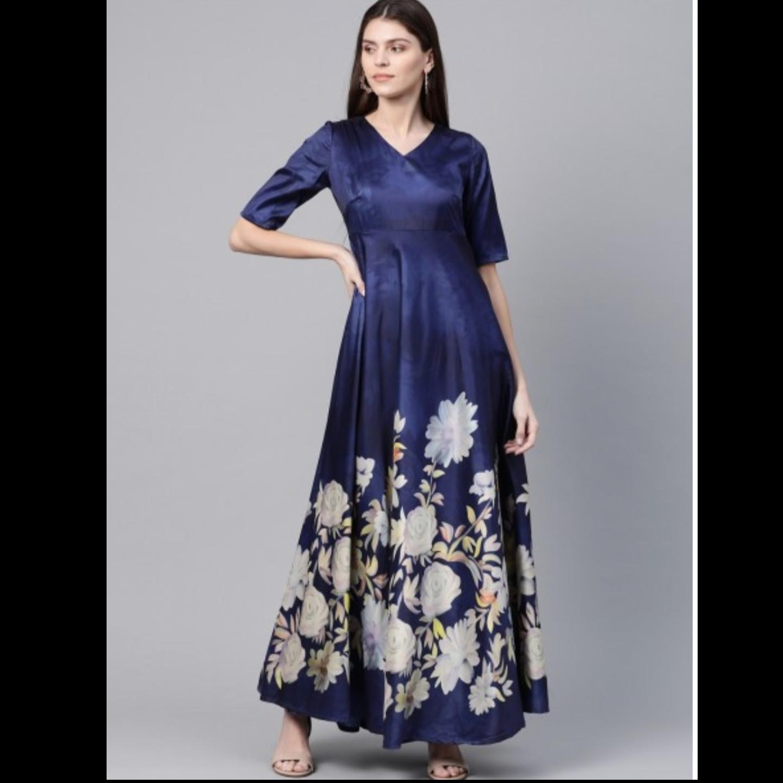 Navy Blue & White Digital Floral Print Maxi Dress