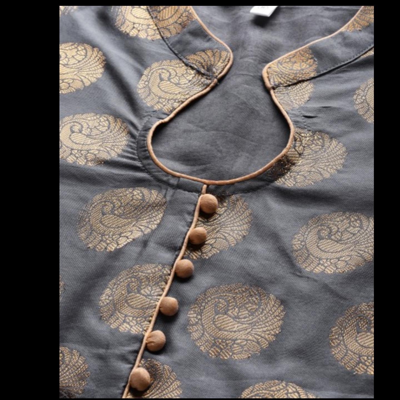 Grey Gold Self Designed Anarkali Kurta With Pant