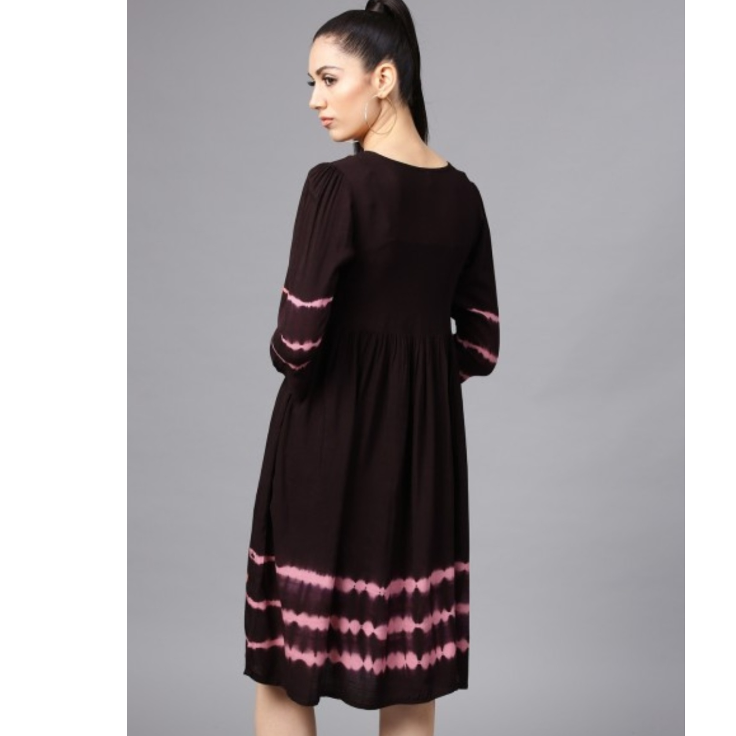 Dark Brown Tie & Dye Pleated A-Line Dress