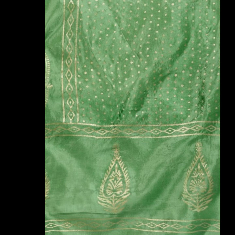 Purple Gold Block Printed Lehenga & Choli With Green Dupatta