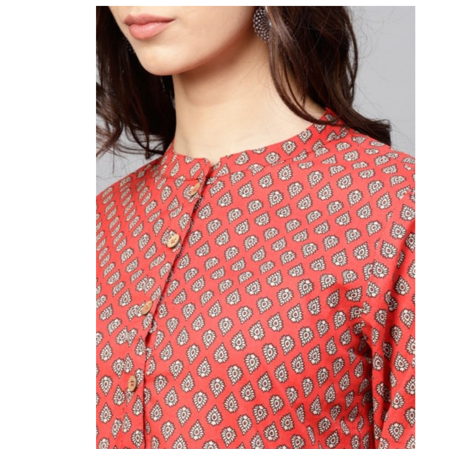 Brick Red Printed Pleated Tunic