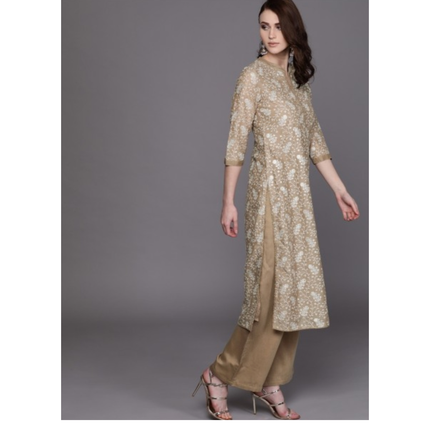 Beige & White Printed Kurta With Palazzos