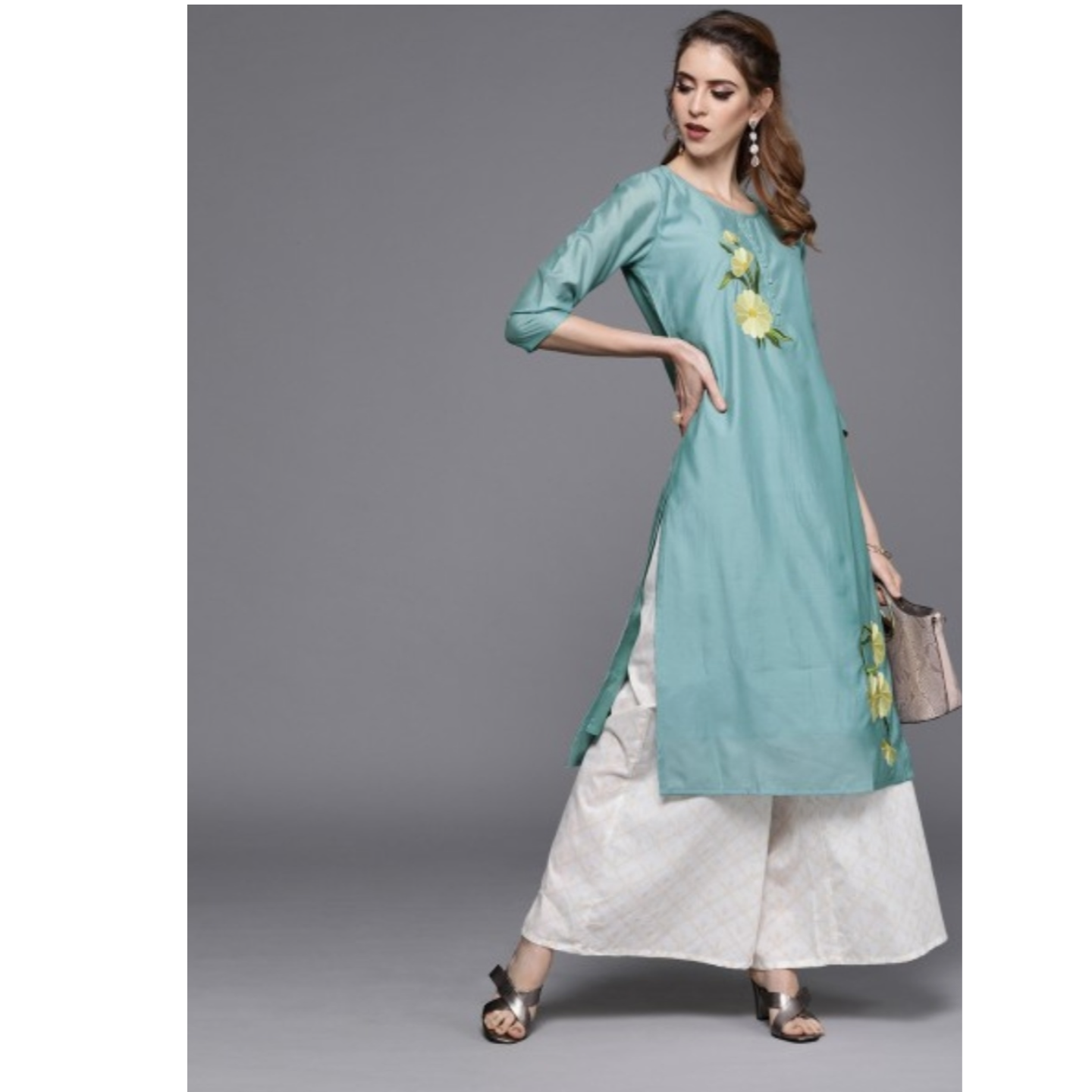 Blue Embroidered Straight Kurta