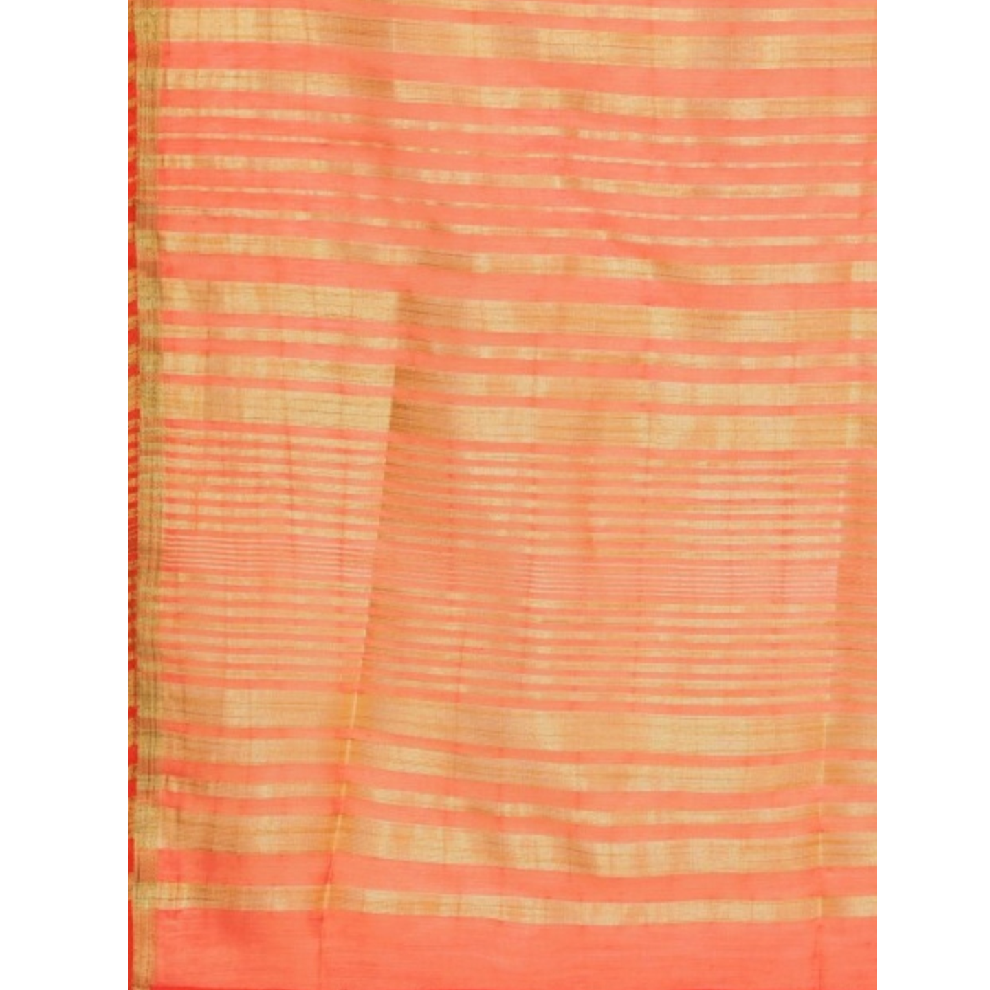 Coral Orange & Golden Striped Kurta With Sharara & Dupatta