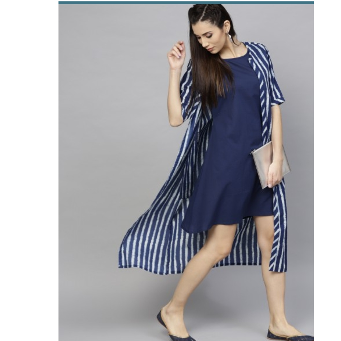 Blue & White Striped Printed Double Layared Dress