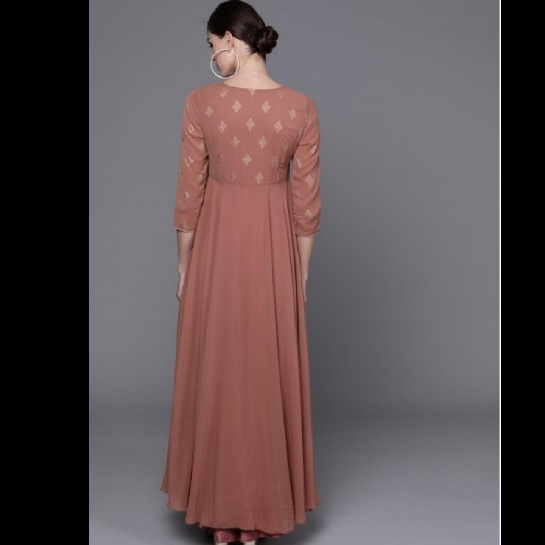 Brown Printed Detail Maxi Dress