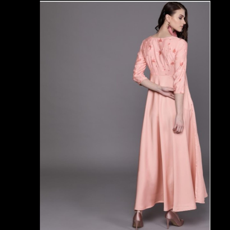 Pink Printed Detail Satin Finish Empire Maxi Dress
