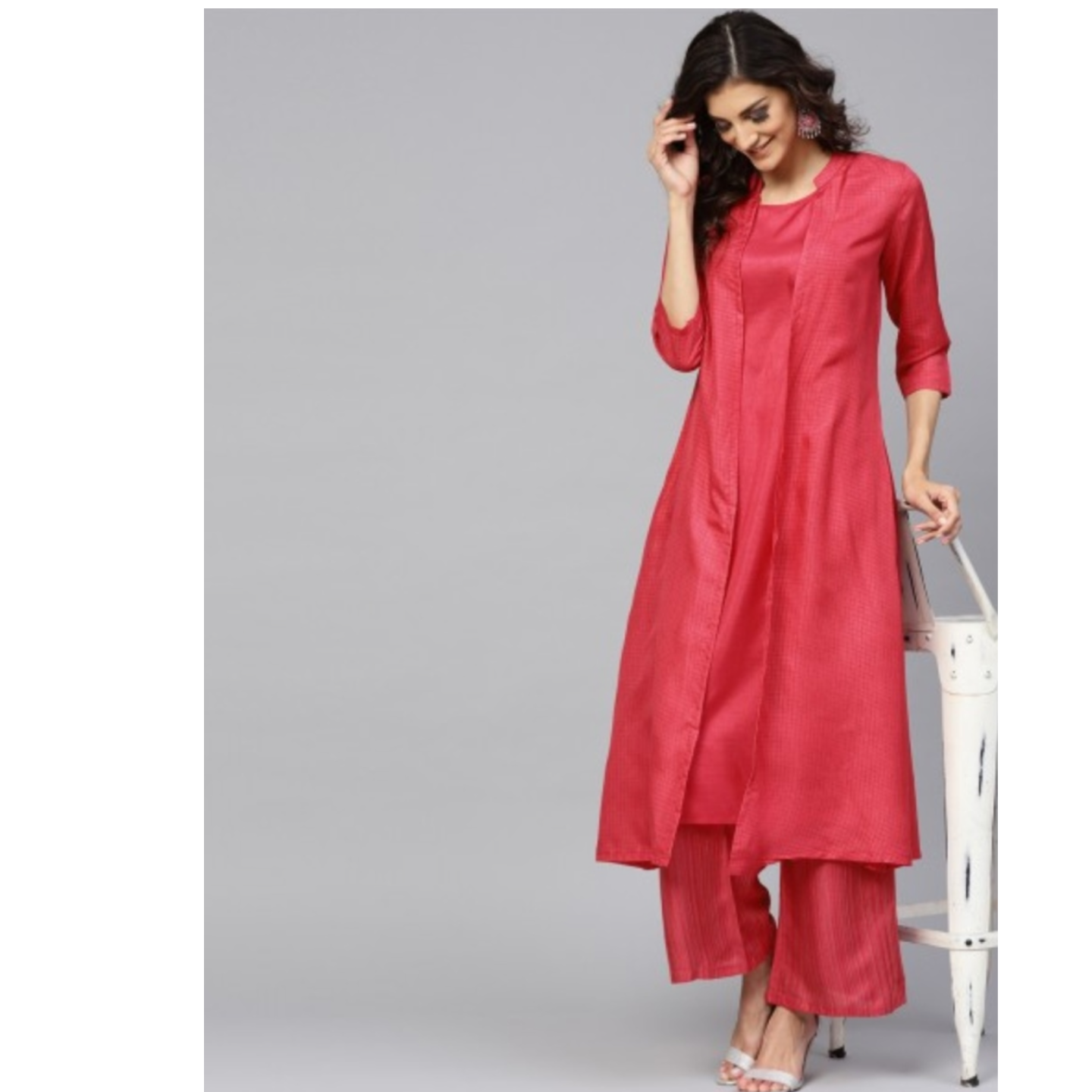 Pink Striped Printed Layered Kurta With Palazzo Set