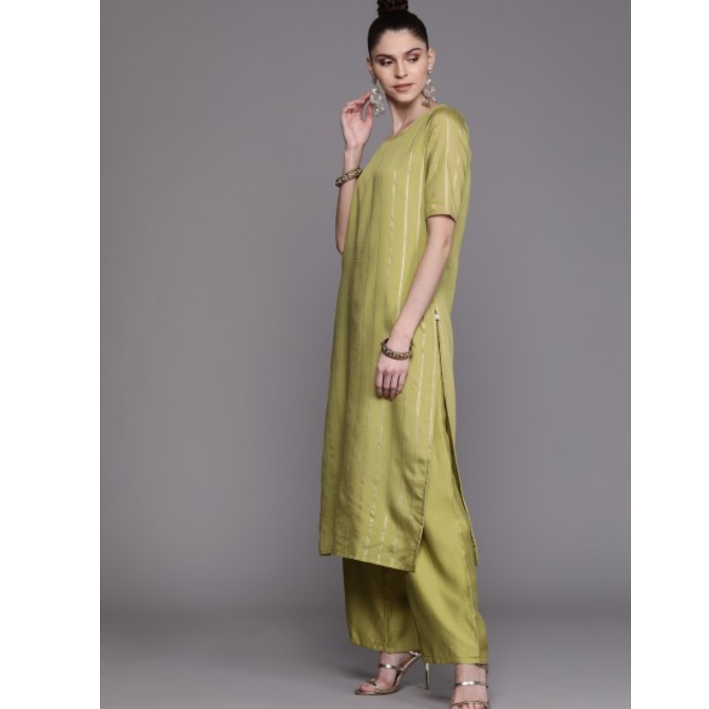 Olive Green & Golden Striped Kurta With Palazzos & Dupatta