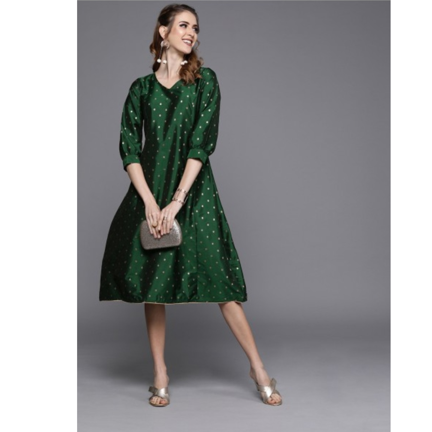 Green Self Design Panelled A-Line Dress
