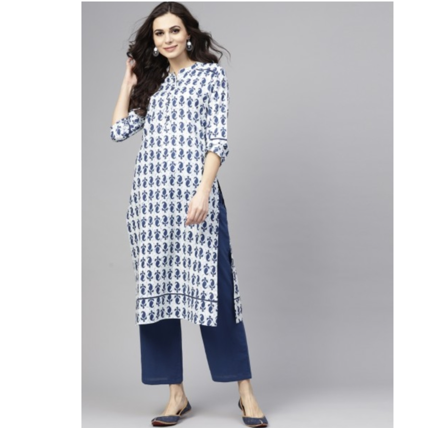White & Blue Printed Straight Kurta With Pant Set